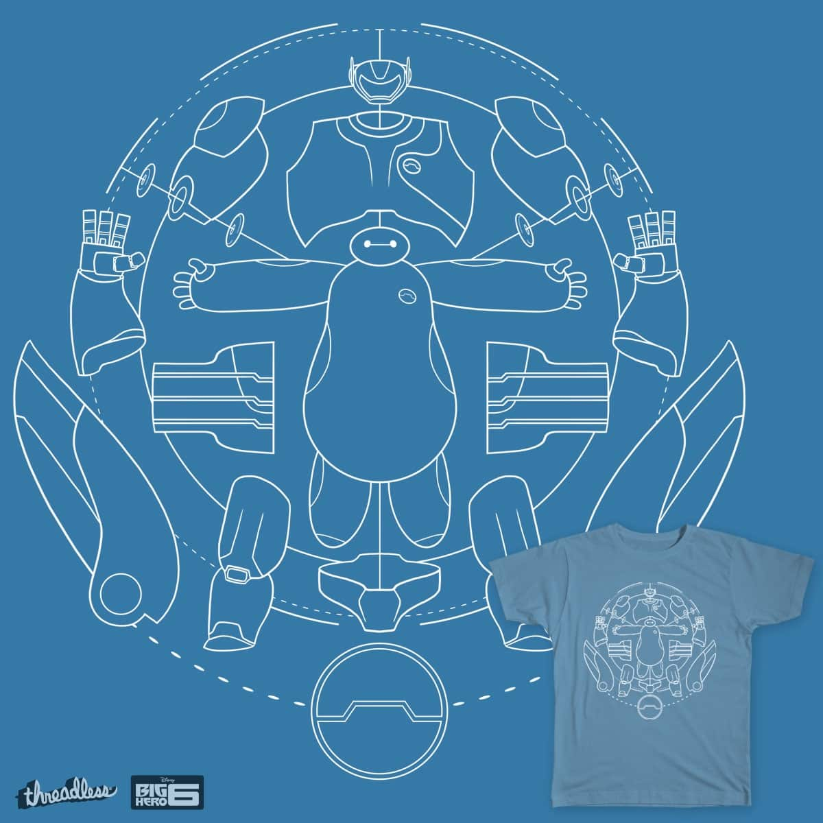 Baymax blueprint a cool t shirt by joe wright on threadless baymax blueprint malvernweather Image collections