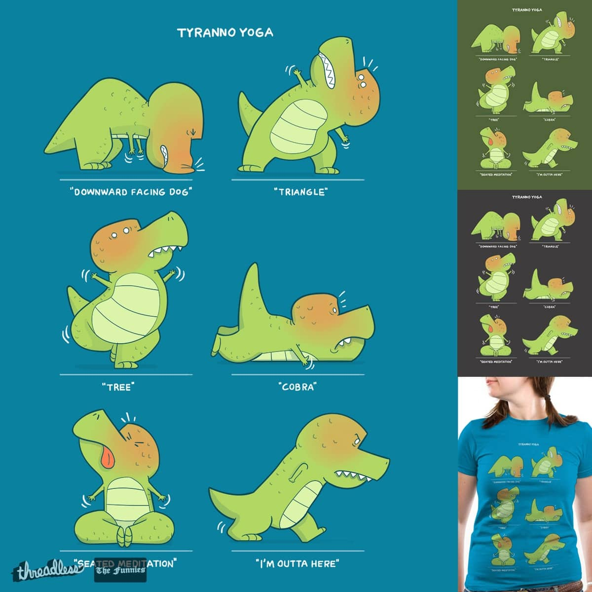 T-Rex Tries Yoga  by queenmob on Threadless