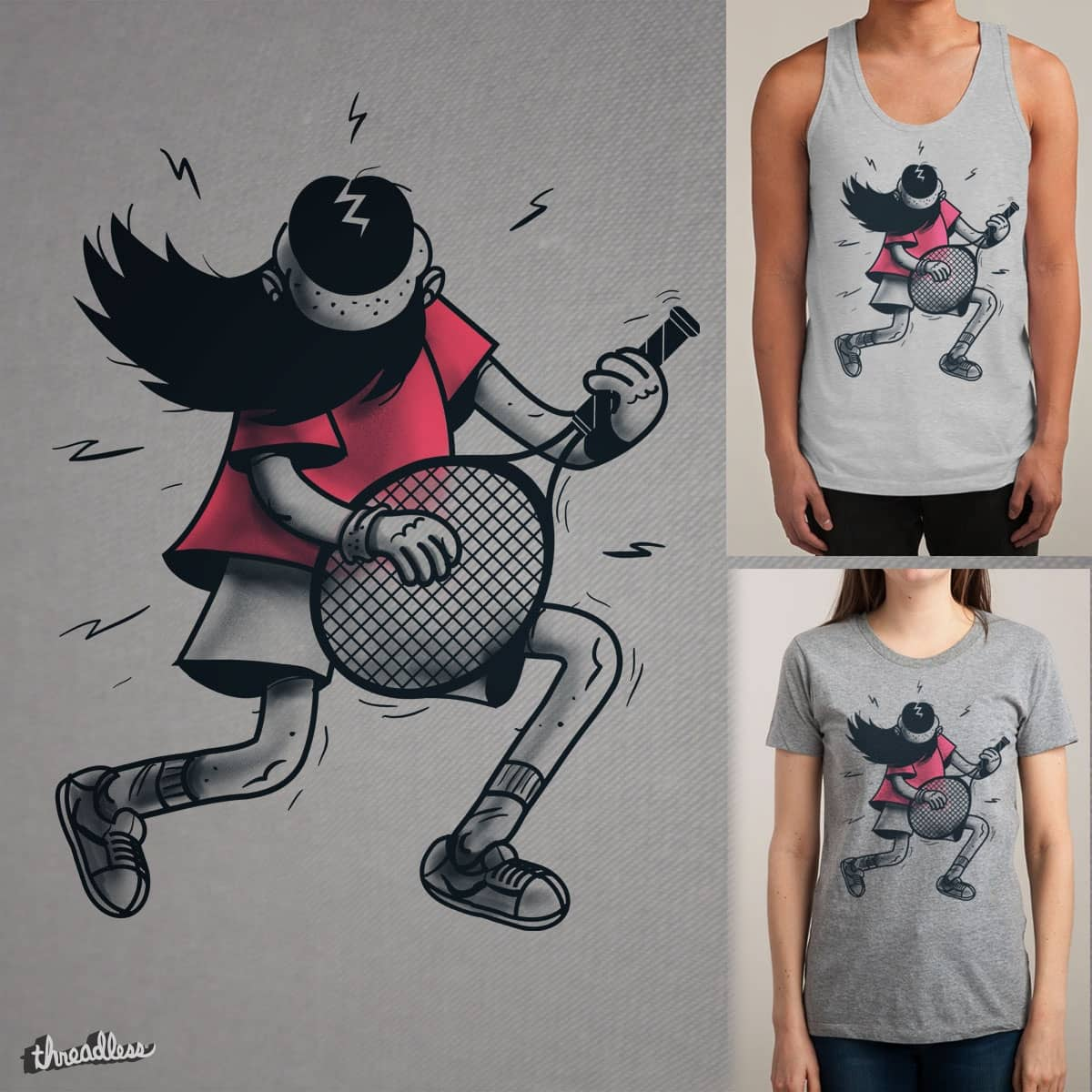 Air guitar Tennis by Gums. on Threadless