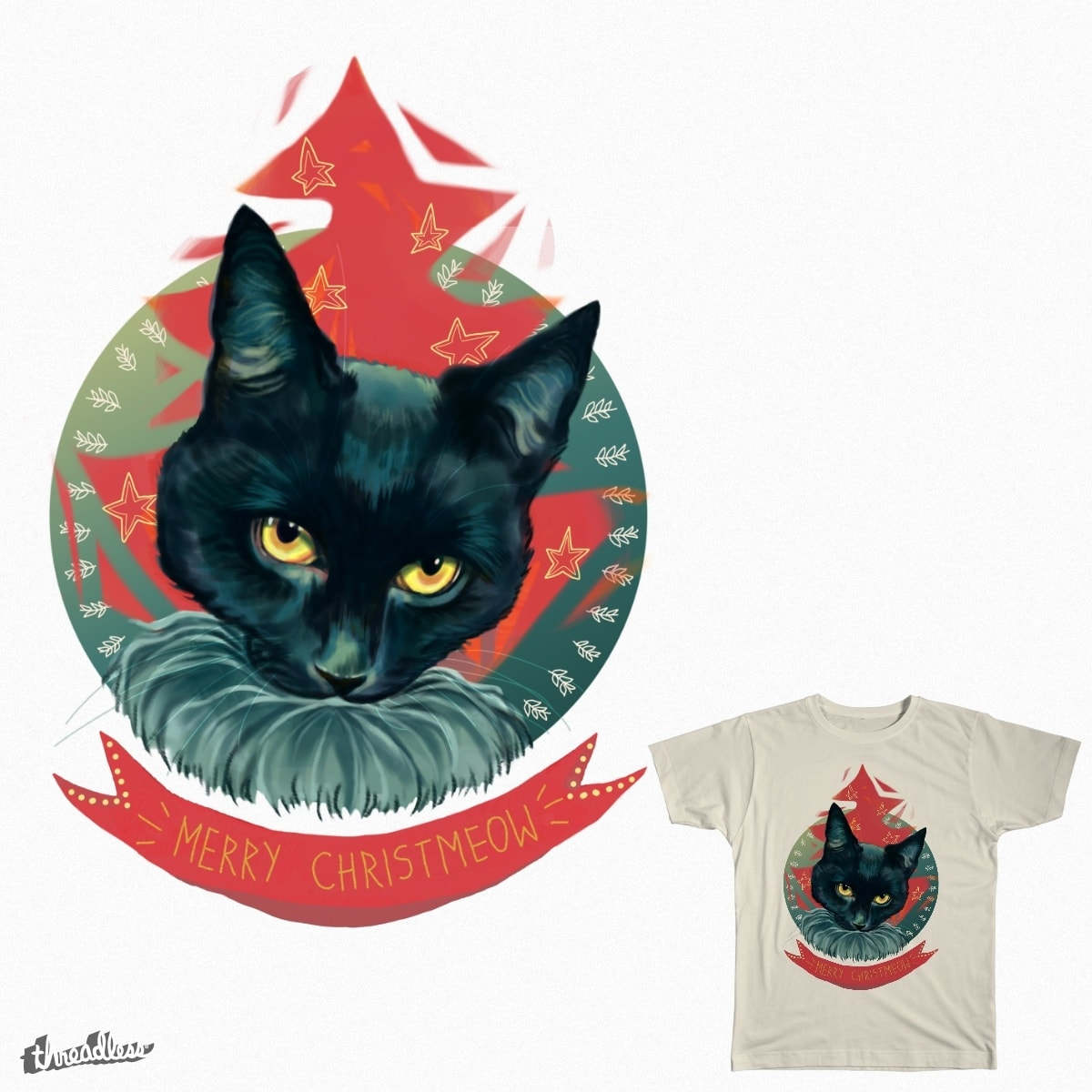 Merry Christmeow  by margaw on Threadless