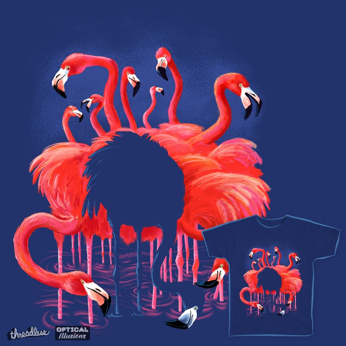 Blue Flamingo by deadsquirrel on Threadless