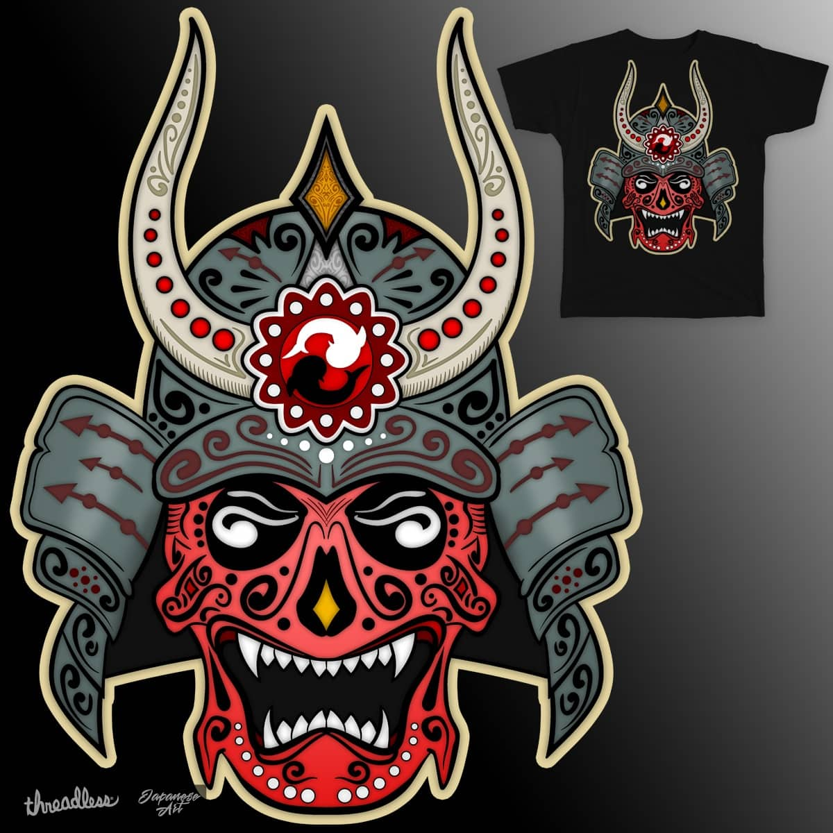Samurai demon sugar skull by patrick hiller on threadless
