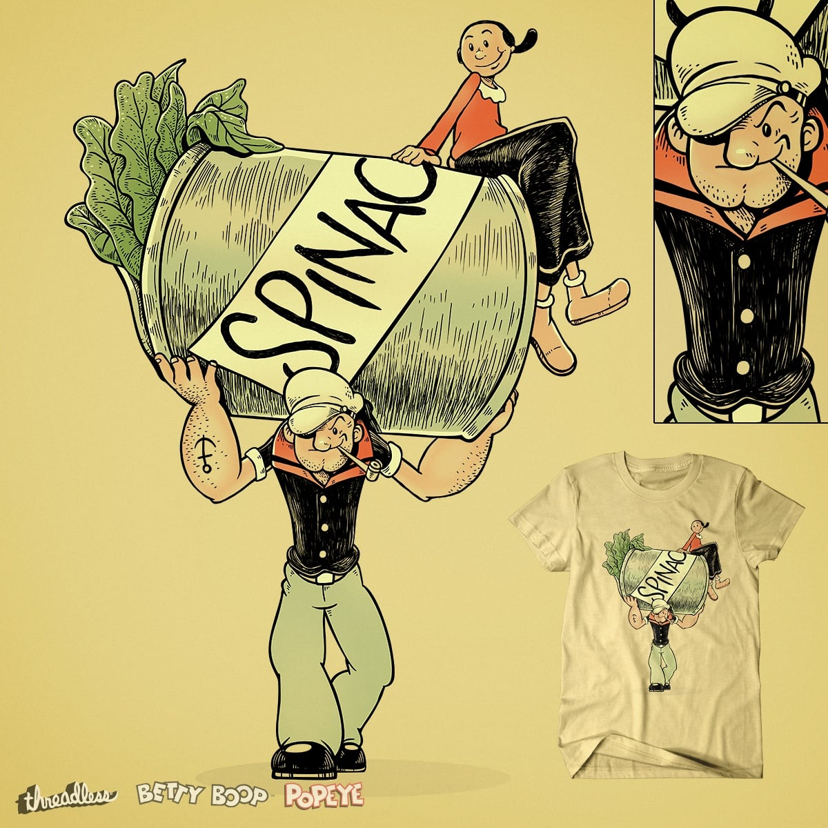 Score The Sailor Man with the Spinach Can by rhobdesigns on Threadless
