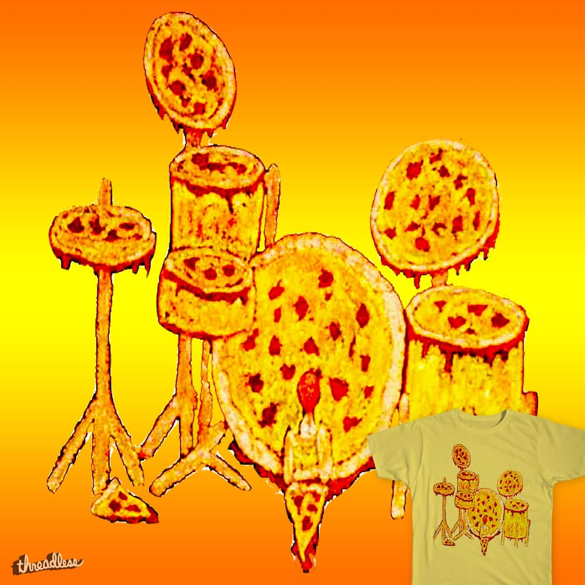 Score Pizza Drum Set by captainshook on Threadless