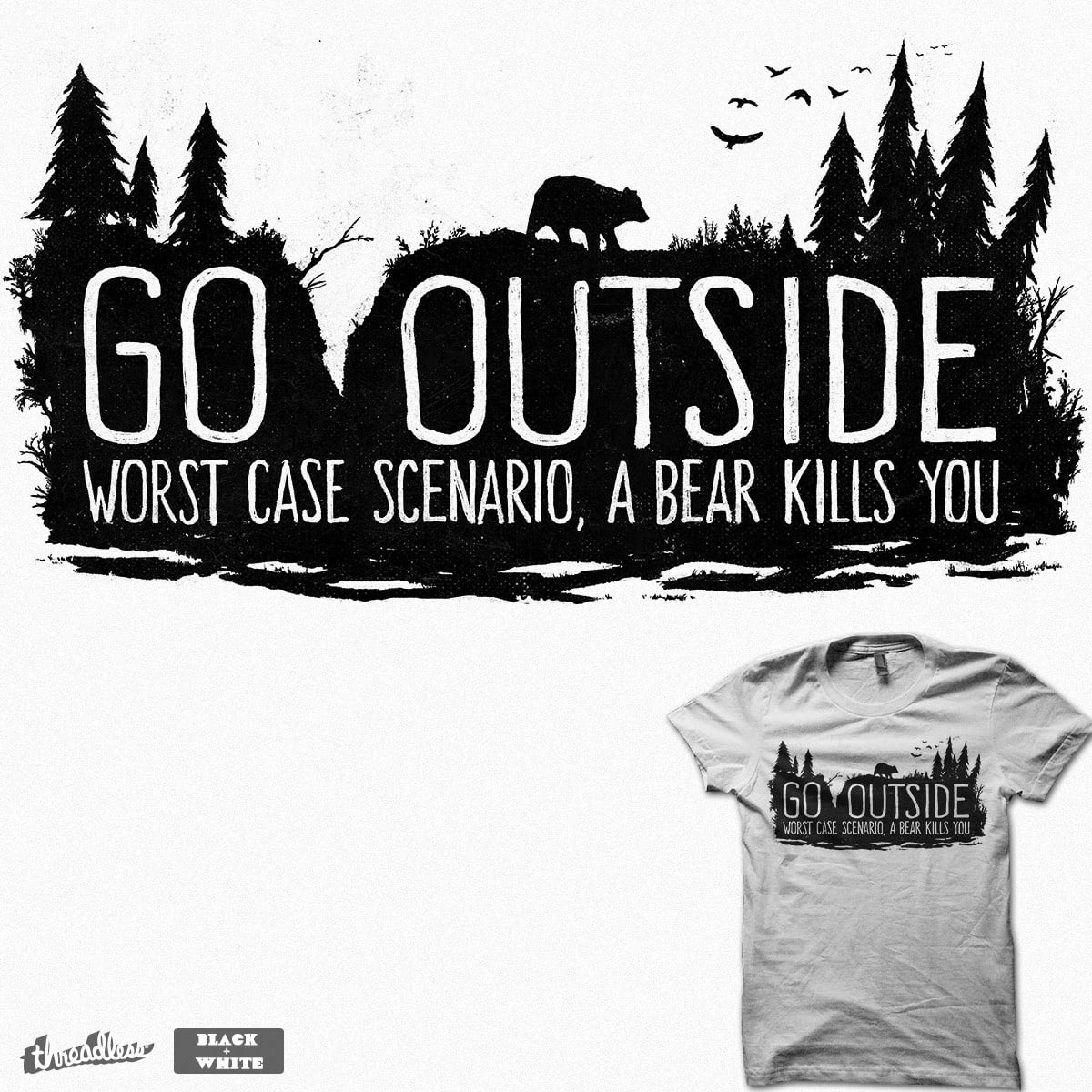 Worst Case Scenario, A Bear Kills You by FoxShiver on Threadless