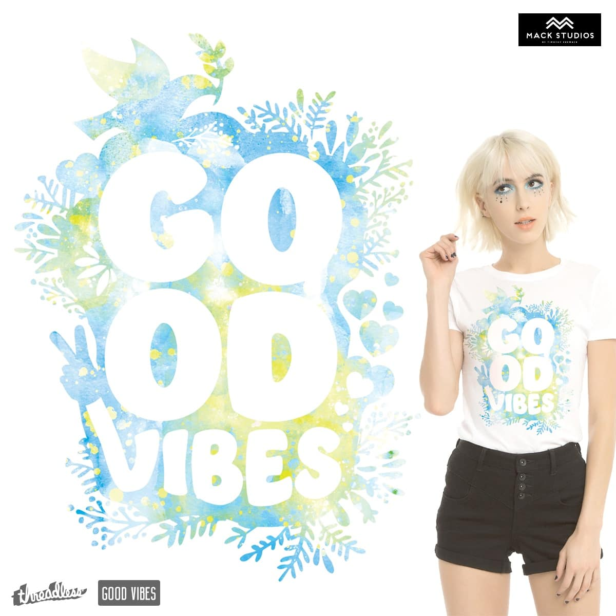 Good Vibes Floral WC by MackStudios on Threadless
