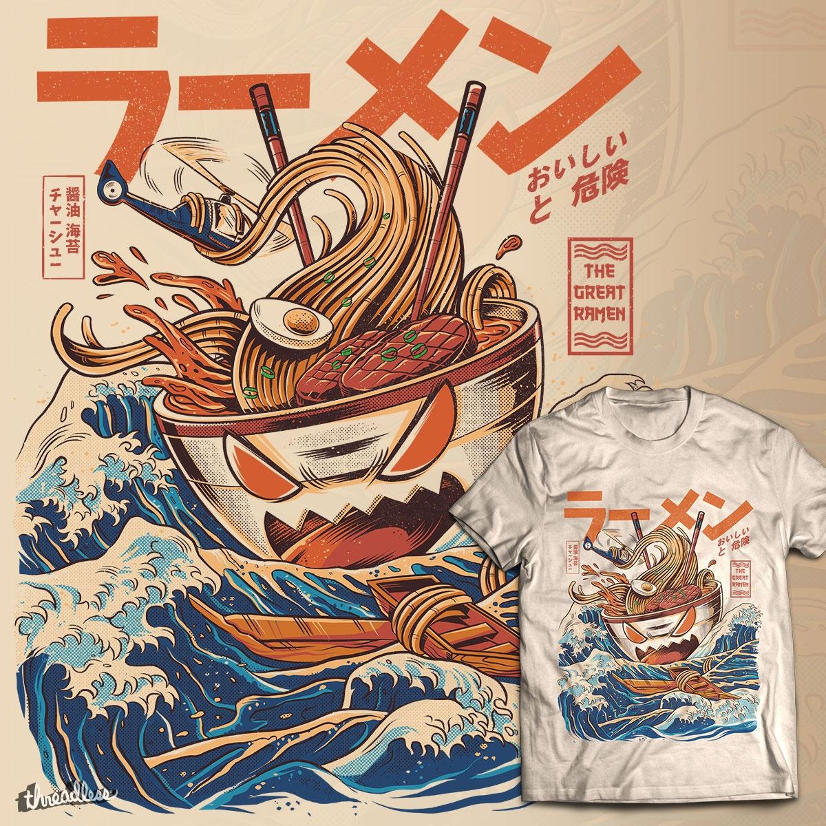 0e242985d The Great Ramen off Kanagawa, a cool t-shirt by Ilustrata on Threadless